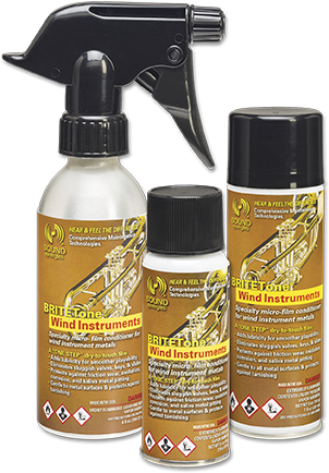 Sound Synergies Musical Instrument Care Products | BRITETone® Wind Instruments is an advanced micro-thin conditioning lubricant for all brass, wind, orchestral, and band instruments.