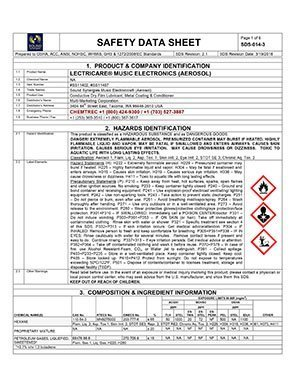 Sound Synergies safety and regulatory compliance resources contains state, national and international compliance documents including safety data sheets (SDS).