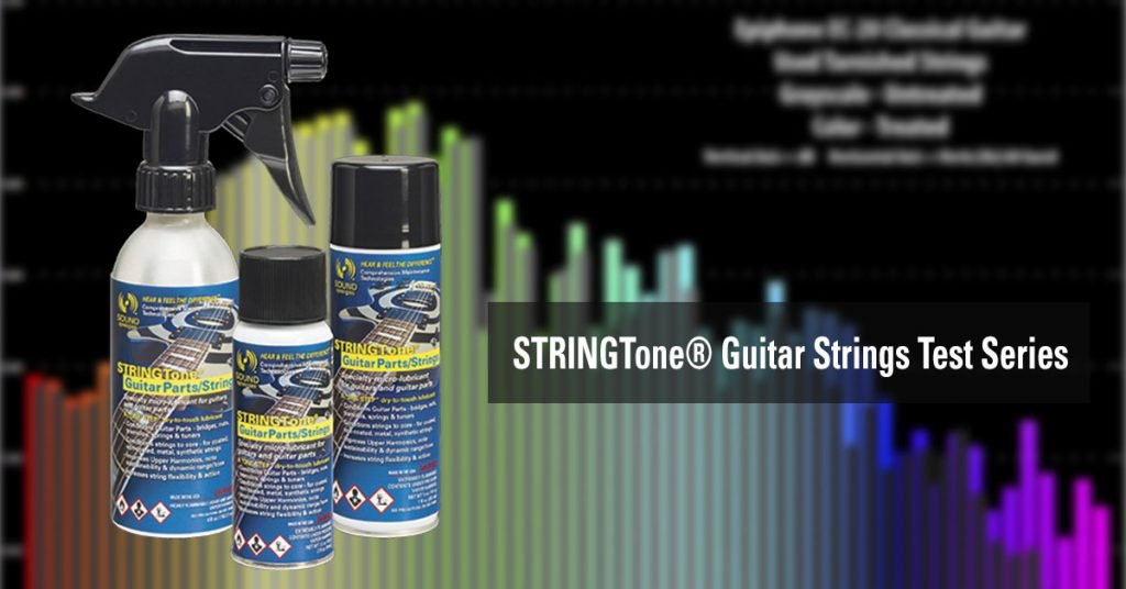 Sound Synergies guitar strings test series shows before and after results using STRINGTone® Guitar Strings/Parts.