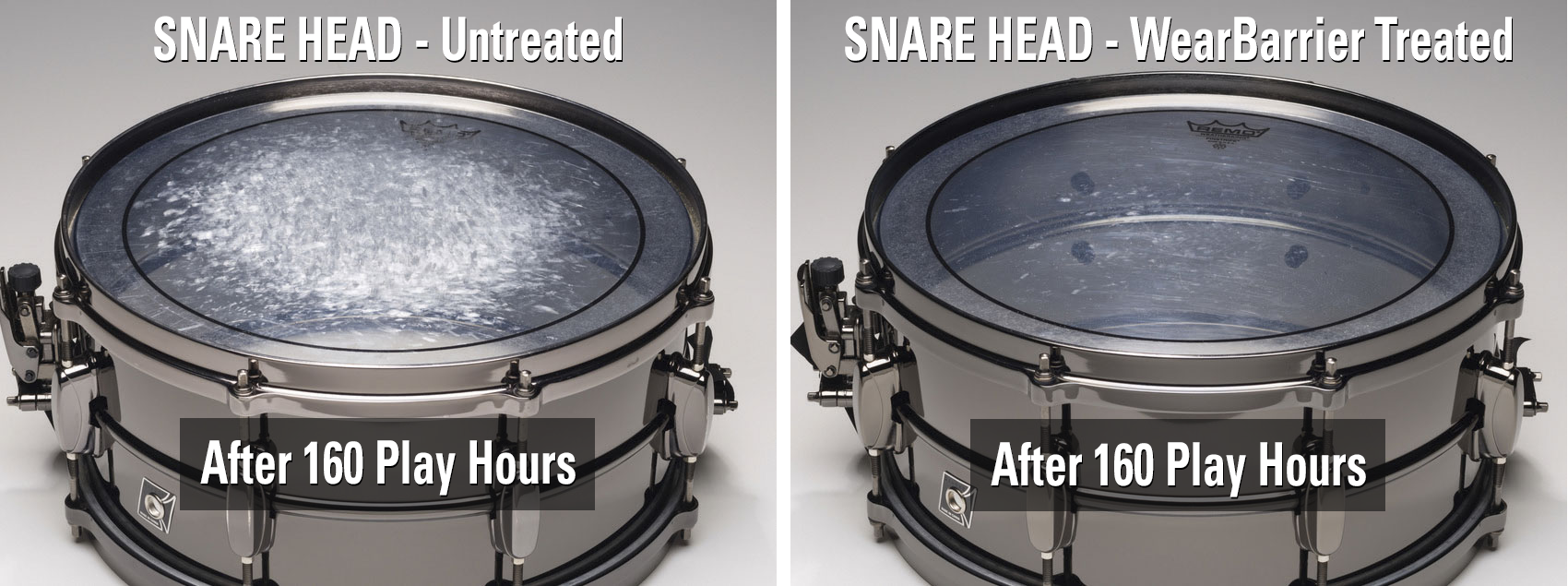 WearBarrier drum head cleaner revitalizes drum sound and response with one easy application.